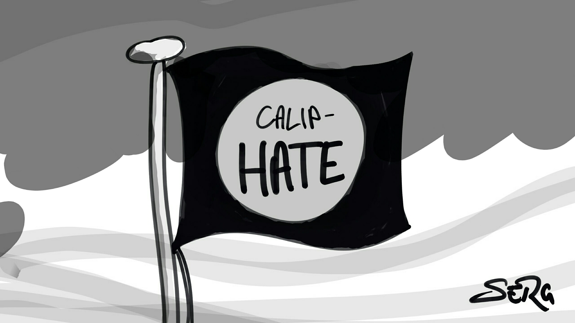 """Flag of the ISIS caliphate, only broken so as to read """"Calip-hate""""."""